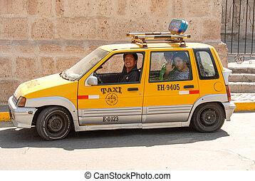 Taxis in Arequipa, Peru - AREQUIPA, PERU - August 11, 2006:...