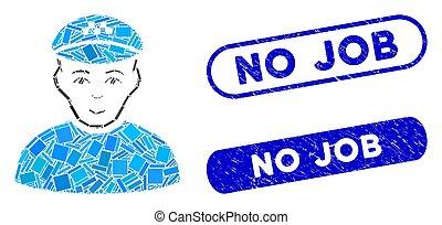 taxista, mosaico, não, trabalho, grunge, selos, retângulo