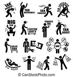Taxpayer Tax Clipart - A set of human stick figure ...