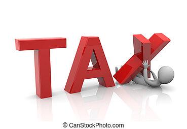 Taxpayer under heavy tax burden - 3d render of heavy ...