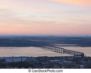 tay, 夜明け, 柵, スコットランド, 橋, ダンディー