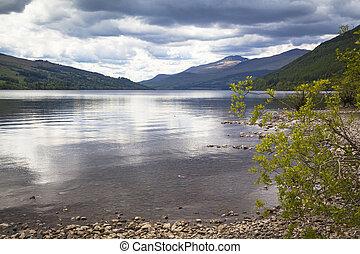 tay, nuages, loch, perthshire, ecosse, sur