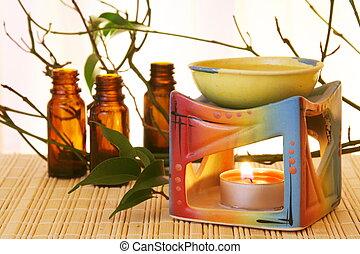 tazón, aceite, botellas, aroma
