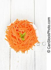 tazón, cima, zanahoria, rallado, vista