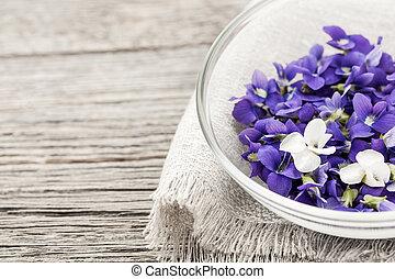 tazón, comestible, violetas