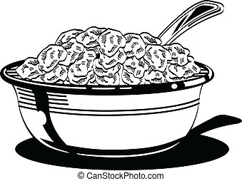 tazón de cereal, con, leche, y, spoon.