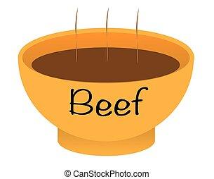 tazón de fuente de la sopa, carne de vaca