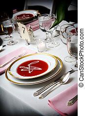 tazón de fuente de la sopa, en, un, boda, acontecimiento