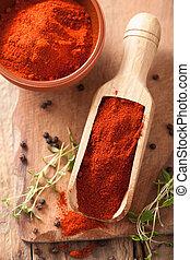 tazón de madera, paprika, pala, especia, rojo, suelo