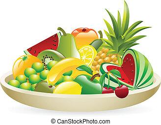 tazón fruta, ilustración