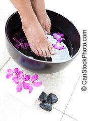 tazón, pies, femenino, pie, balneario, orquídeas