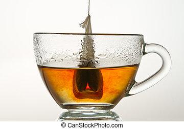 taza, aislado, agua, caliente, llenado, plano de fondo, blanco, teabag