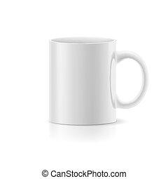 taza blanca, blanco