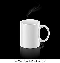 taza blanca, en, fondo negro
