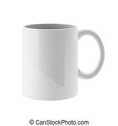 taza blanca, render, 3d
