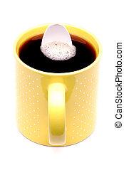 taza, café, blanco, cuchara, y