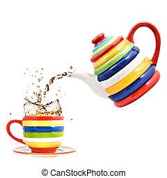 taza, color, té, aislado, salpicadura, blanco, tetera