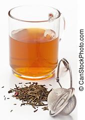 taza, con, té, secado, té, antes, y, metal, manija, para,...