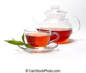 taza, con, té, y, tetera