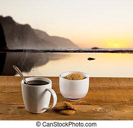 taza de café, en, tabla de madera, por, océano
