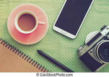 taza de café, en, tienda de café, vendimia, apariencia el...