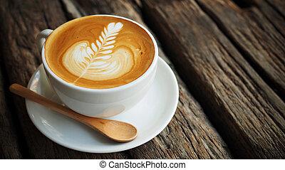 taza de café, en, tienda de café, vendimia, color