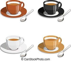 taza, de, coffee., conjunto, de, vector, ilustraciones