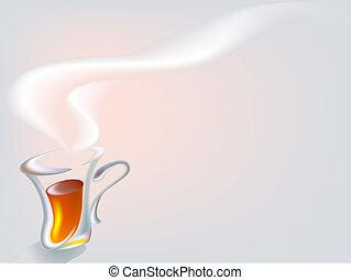 taza del té caliente, temprano por la mañana