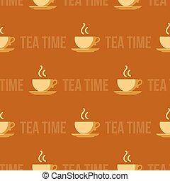 taza, el cocer al vapor, té, text., seamless, patrón