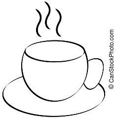taza humeando del café, o, té