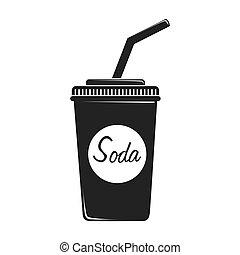 taza, ilustración, plástico, vector, soda, icono