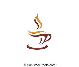 taza, logotipo, plantilla, café