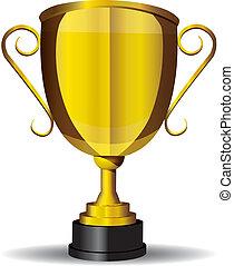 taza, oro, vector, trofeo