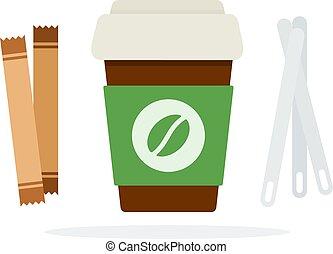 taza, palos, azúcar, o, cucharas, tapa, plástico, café