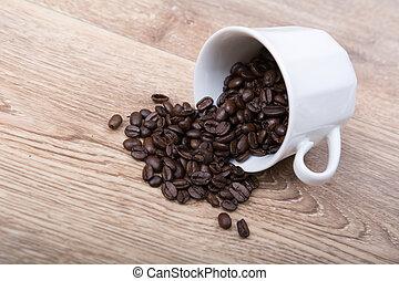taza para café, afuera, blanco, derramar