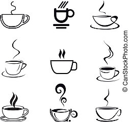 taza para café, -, aislado, vector, icono