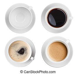 taza para café, cima, aislado, colección, surtido, vista