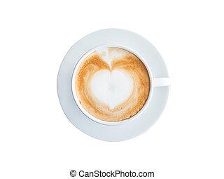 taza para café, cima, aislado, recorte, blanco, path., vista