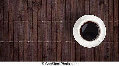 taza para café, cima, tabla, bambú, vista