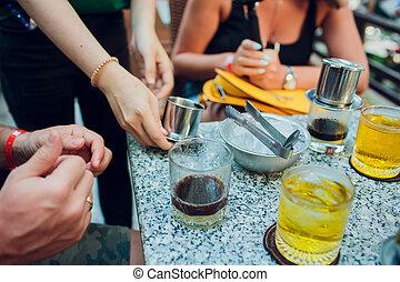 taza para café, de madera, hielo, arco, filtro, marcador, frío, mesa.