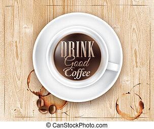 taza para café, desván, madera