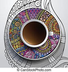 taza para café, ornamento, mano, floral, dibujado
