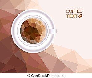 taza para café, polygonal, estilo, menú