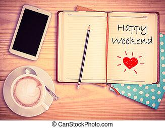 taza para café, teléfono, cuaderno, lápiz, w, fin de semana,...