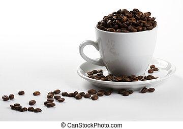 taza para café, uno, frijoles, plano de fondo, blanco, llenado