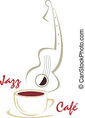 taza para café, y, guitarra, música