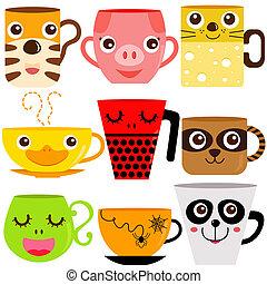 taza para café, y, jarra, animales