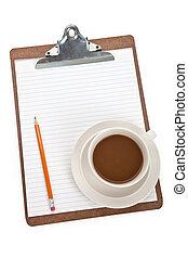 taza para café, y, portapapeles