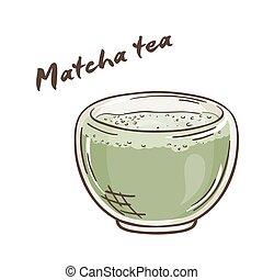taza, printable, té, aislado, ilustración, etiqueta, vector,...