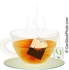 taza, té, ilustración, vector, su, design.